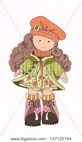 Little girl in hat and coat. Vector illustration. Girl doll. Children's character. Animated character. Girl. autumn
