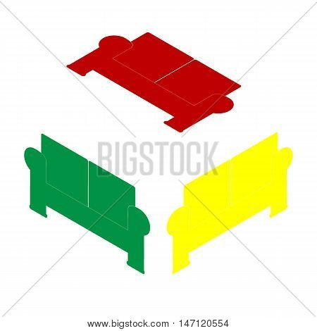 Sofa Sign Illustration. Isometric Style Of Red, Green And Yellow Icon.