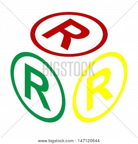 Registered Trademark Sign. Isometric Style Of Red, Green And Yellow Icon.