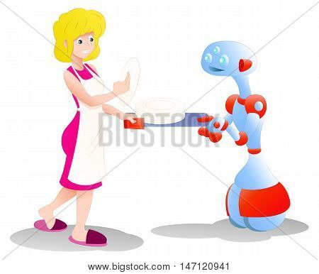 illustration of a happy droid robot helping mom picking plates on isolated white background
