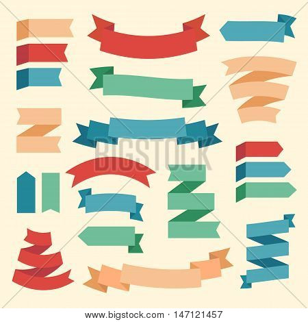Colored vector ribbons and labels set. Template collection