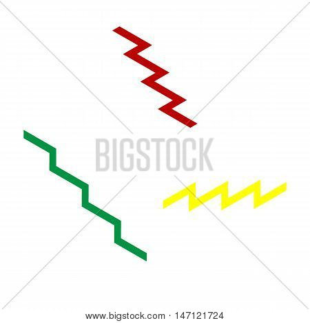 Stair Down Sign. Isometric Style Of Red, Green And Yellow Icon.