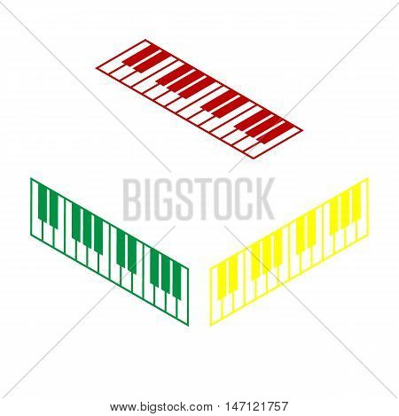 Piano Keyboard Sign. Isometric Style Of Red, Green And Yellow Icon.