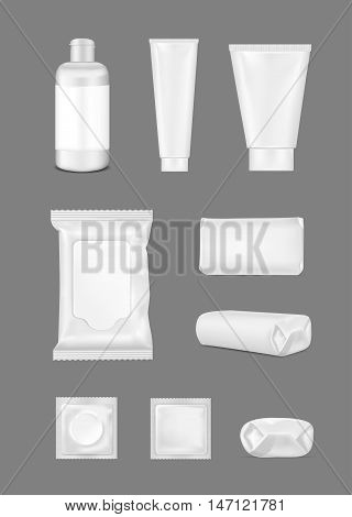 Big set. White empty plastic packaging for fashion cosmetics hygiene. Blank foil sachet.