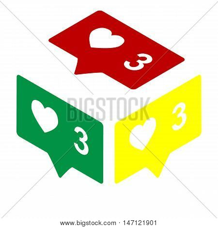 Like And Comment Sign. Isometric Style Of Red, Green And Yellow Icon.