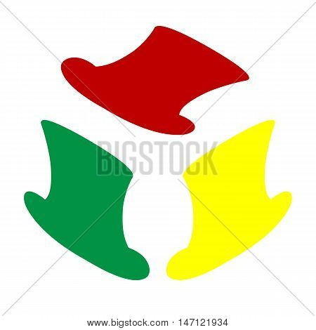 Top Hat Sign. Isometric Style Of Red, Green And Yellow Icon.