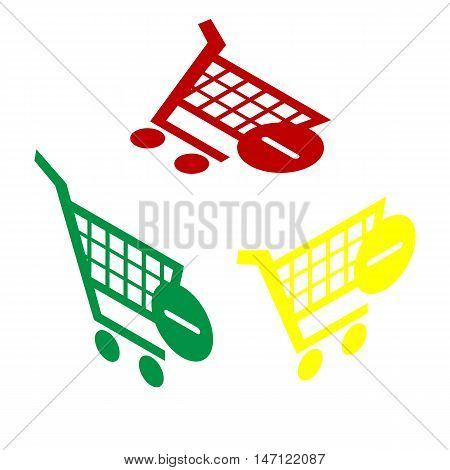 Vector Shopping Cart With Remove Sign. Isometric Style Of Red, Green And Yellow Icon.