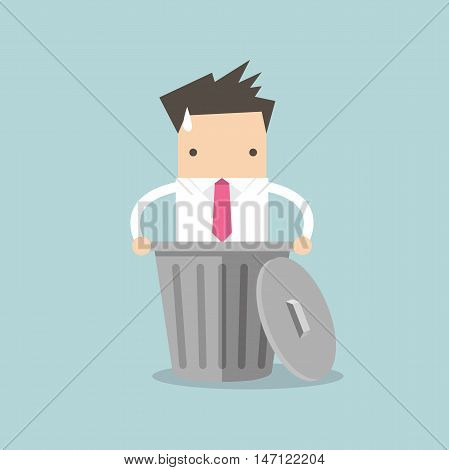 Business man dropped into trash. vector illustration