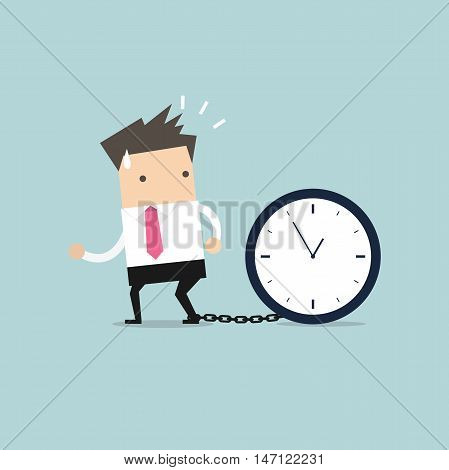 Businessman gets chained with big clock in time concept vector