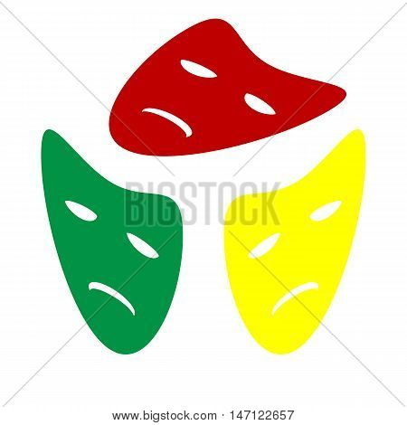 Tragedy Theatrical Masks. Isometric Style Of Red, Green And Yellow Icon.