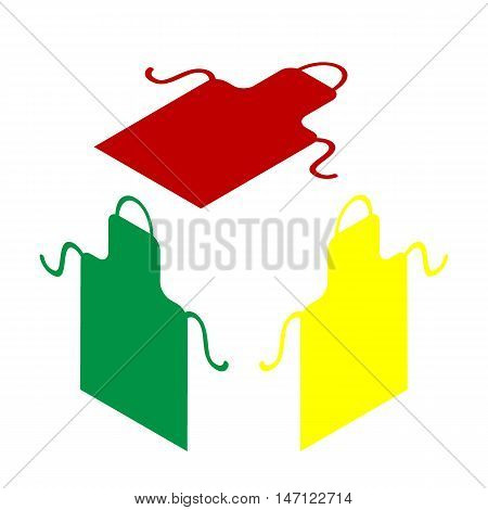 Apron Simple Sign. Isometric Style Of Red, Green And Yellow Icon.