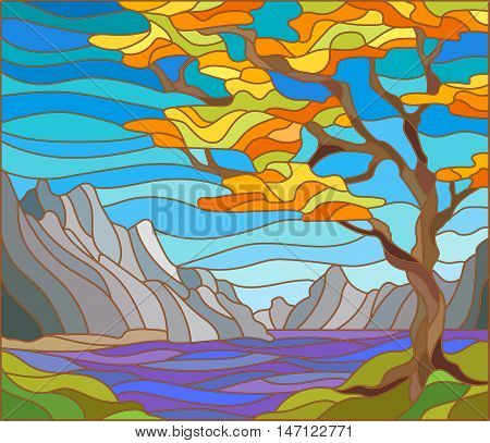 Illustration in stained glass style landscape with a lonely tree on a background of mountains water and sky