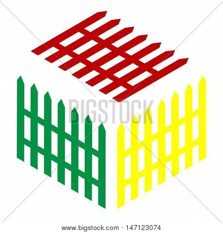 Fence Simple Sign. Isometric Style Of Red, Green And Yellow Icon.