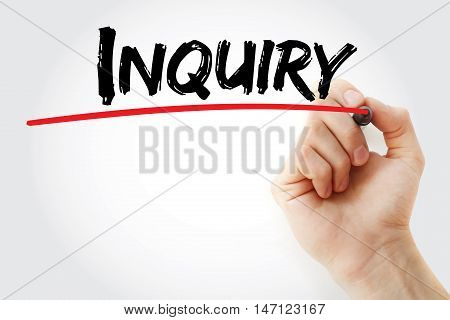 Hand Writing Inquiry With Marker