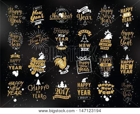 Happy New Year 2017 typographic emblems set. Vector logo design. Black and gold. Usable for banners, greeting cards, gifts etc.