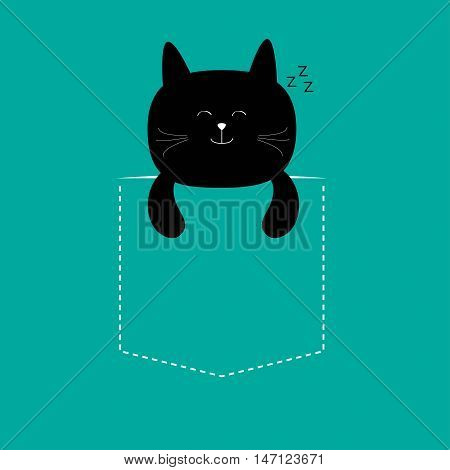 Cat sleeping in the pocket. Cute cartoon character. Black kitten sleep kitty. Dash line. Pet animal collection. T-shirt design. Blue background. Isolated. Flat Vector illustration