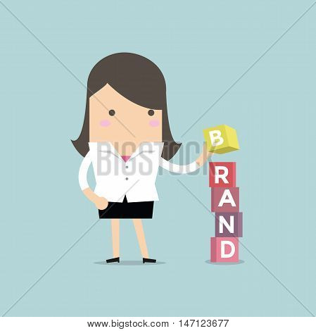 Businesswoman is building Brand cubic box puzzle, vector
