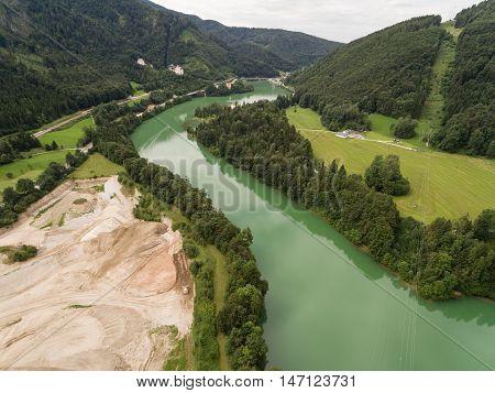 Aerial View Lake Klaus, Upper Austria, Austria