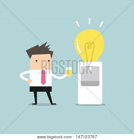 Businessman wants to drink idea from water bulb cooler vector