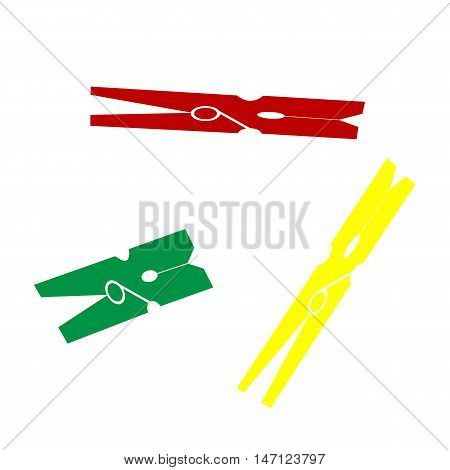 Clothes Peg Sign. Isometric Style Of Red, Green And Yellow Icon.