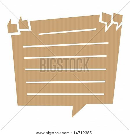 Speech bubble cut out of craft paper or cardboard with quotation marks and lines. EPS 10 vector carton
