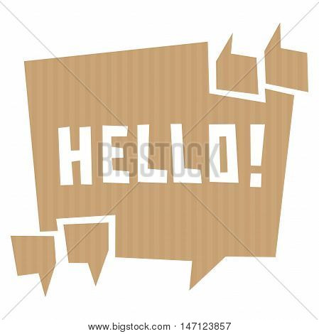 Speech bubble cut out of craft paper or cardboard with quotation marks and word Hello. EPS 10 vector carton