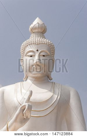 Large White Buddha Temple Thailand Asian Religion And Culture