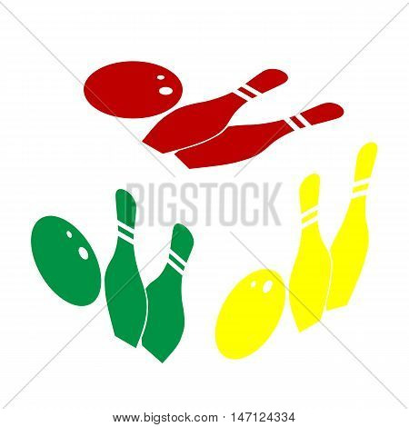 Bowling Sign Illustration. Isometric Style Of Red, Green And Yellow Icon.
