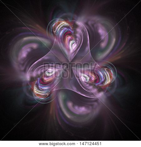 Abstract fractal flower on black background. Computer-generated fractal in rose and crimson colors.