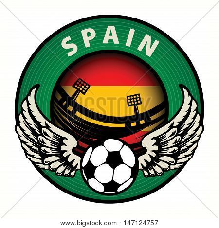 Label with football and name Spain, vector illustration