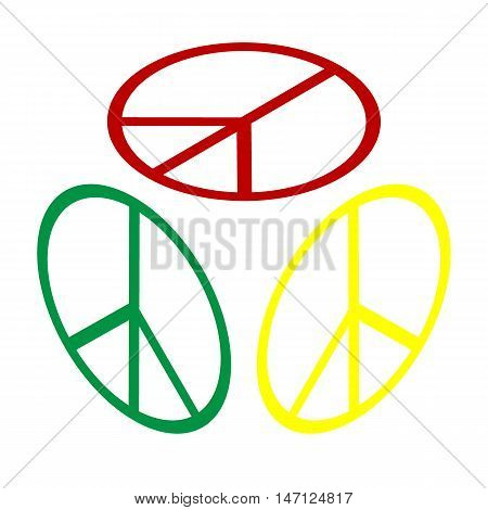 Peace Sign Illustration. Isometric Style Of Red, Green And Yellow Icon.