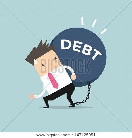 Businessman carry debt. Financial concept vector illustration.