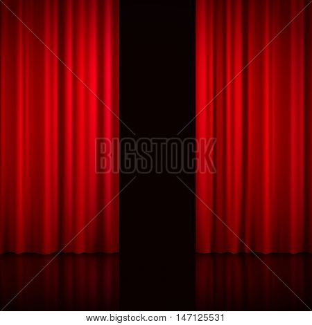 Realistic open red curtains with shadows and black hole instead of scene behind the curtains vector illustration