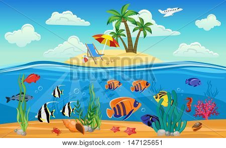 Colored underwater world composition with marine life sandy beach for relaxation and diving vector illustration