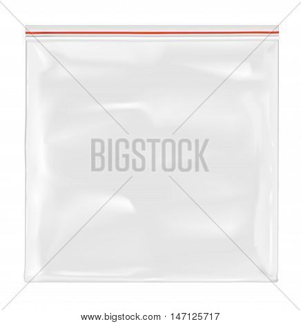 White empty plastic packaging with zipper. Mock up design