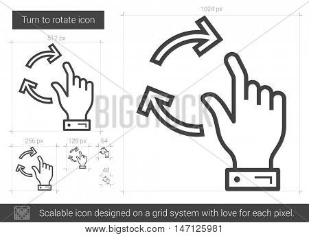 Turn to rotate vector line icon isolated on white background. Turn to rotate line icon for infographic, website or app. Scalable icon designed on a grid system.