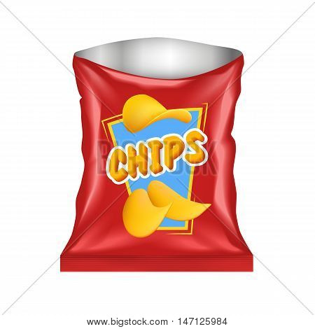 Open realistic red chips package with emblem and highlights isolated on white background vector illustration