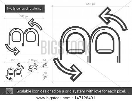 Two finger pivot rotate vector line icon isolated on white background. Two finger pivot rotate line icon for infographic, website or app. Scalable icon designed on a grid system.