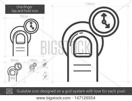 One-finger tap and hold vector line icon isolated on white background. One-finger tap and hold line icon for infographic, website or app. Scalable icon designed on a grid system.