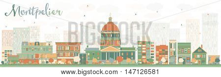 Abstract Montpelier (Vermont) Skyline with Color Buildings. Business Travel and Tourism Concept with Modern Buildings. Image for Presentation, Banner, Placard and Web Site