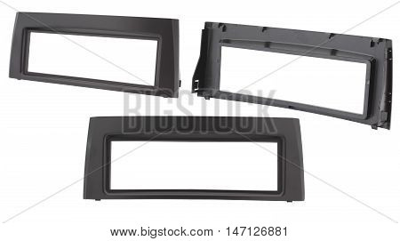 1DIN car radio frame, isolated on white