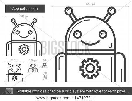 App setup vector line icon isolated on white background. App setup line icon for infographic, website or app. Scalable icon designed on a grid system.