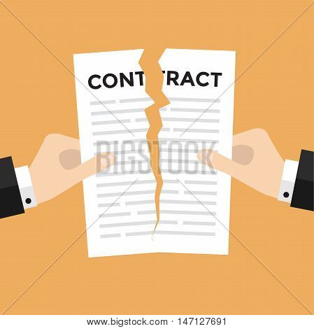 Businessman hands tearing apart contract document vector