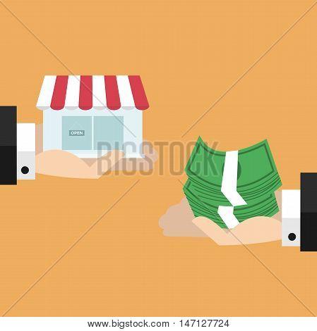 Two hands exchange between money and shop.