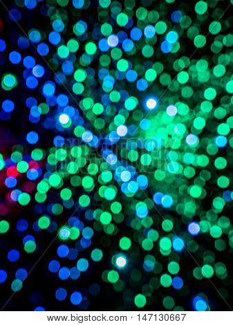 Abstract picture of green and blue random lights bokeh