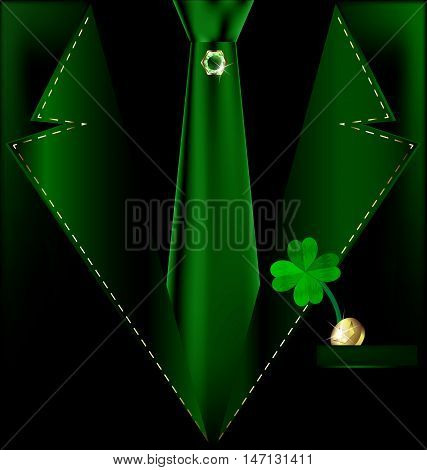 abstract green male costume with jewelry pin, clover and golden coin in the pocket