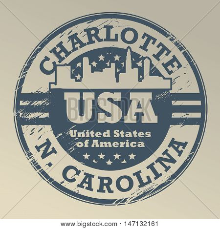 Grunge rubber stamp with name of North Carolina, Charlotte, vector illustration