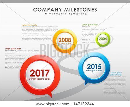 Infographic company milestones timeline vector template. Vector art
