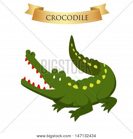 Big green crocodile on a white background. Vector illustration