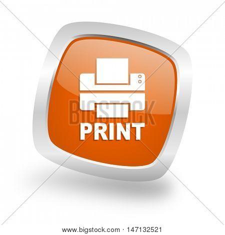 printer square glossy orange chrome silver metallic web icon